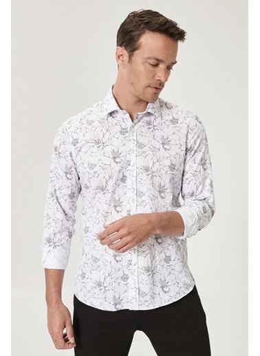 Beymen Business Slim Fit Baskılı Gömlek 4B2020200006 Beyaz